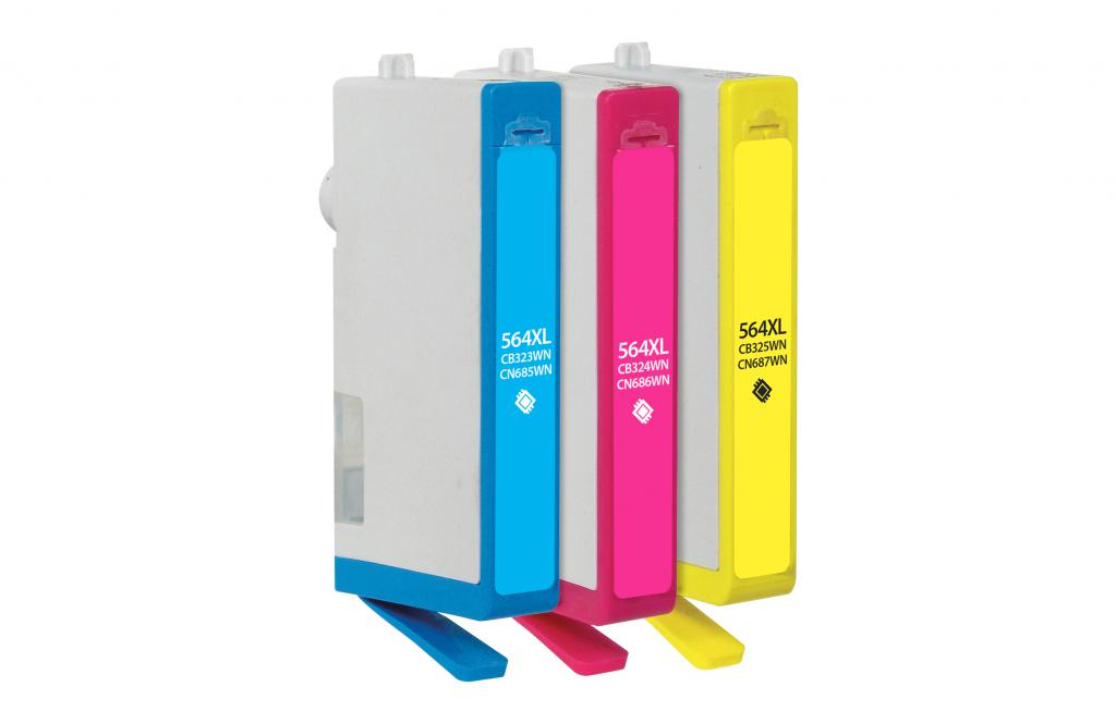 Cyan, Magenta, Yellow Ink Cartridges for HP 564XL 3-Pack