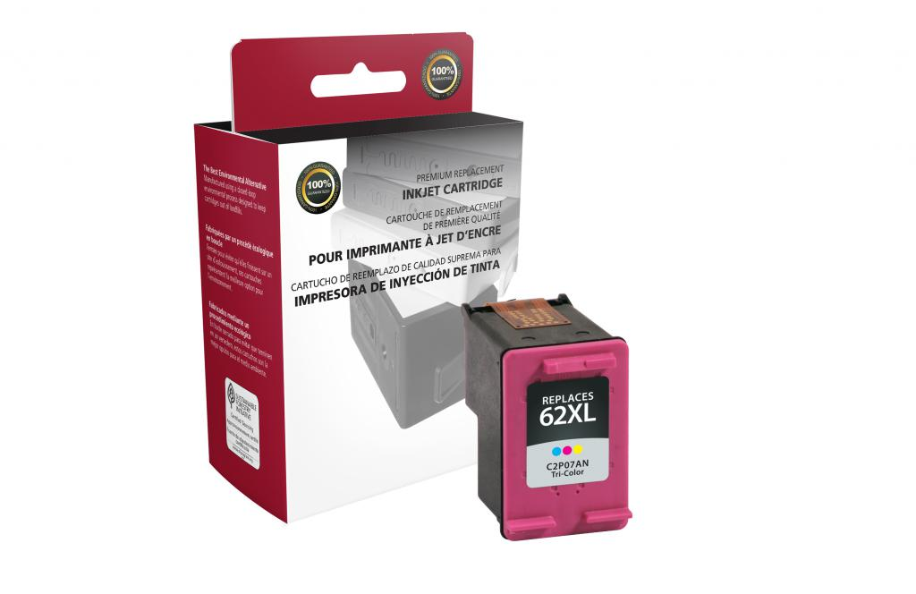 High Yield Tri-Color Ink Cartridge for HP C2P07AN (HP 62XL)