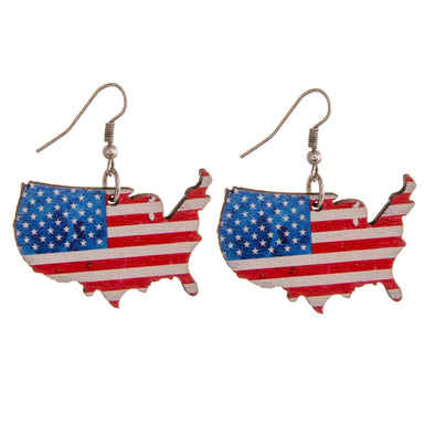 USA United States Wooden Earrings