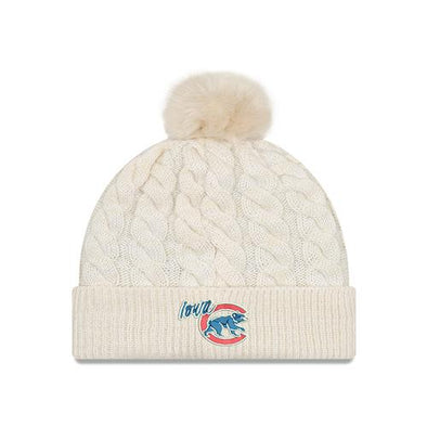 Iowa Cubs Women's Cable Knit Pom, Ivory