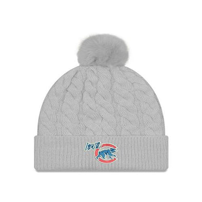 Iowa Cubs Womens Cable Knit Pom, Gray