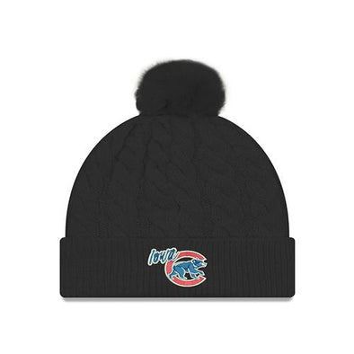 Women's Iowa Cubs Cable Knit Pom, Black