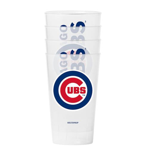Chicago Cubs Clear Plastic Pint