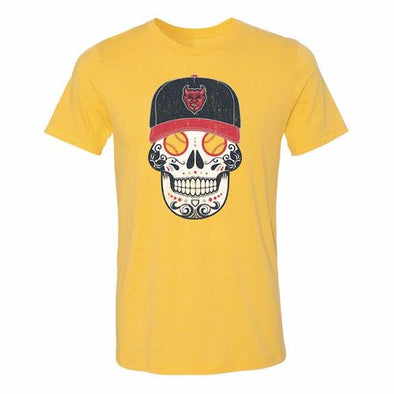 Copa Demonios Sugar Skull Tee, Yellow