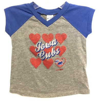 Iowa Cubs Infant V-Neck Hearts Tee, Royal/Gray