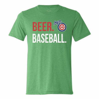 Iowa Cubs Beer Baseball Tee, Green