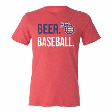 Iowa Cubs Beer Baseball Tee, Red