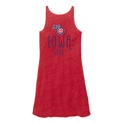 Iowa Cubs Women's Ringer Dress, Red Heather