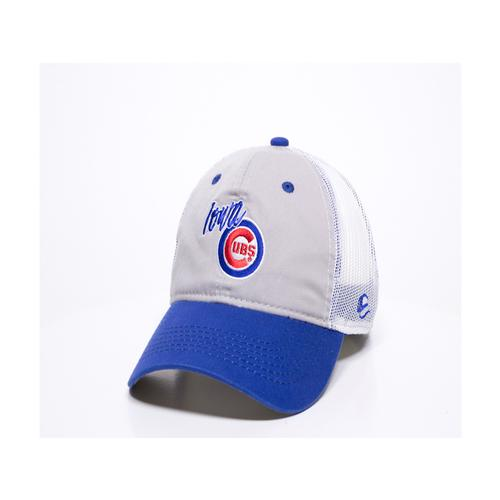 Iowa Cubs Infielder Mesh Adjustable Cap, Gray and Royal