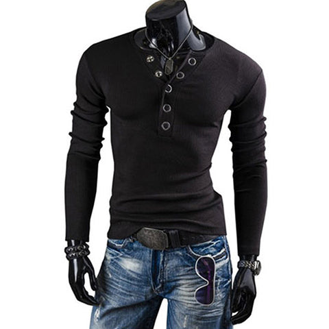 Blanca Fashion Man's V-Neck Annular Popper Buttons Slim Fit Long Sleeve T-Shirt Casual Tops Tee