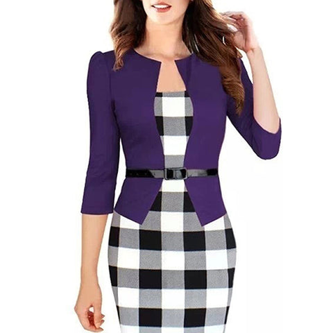 Blanca Fashion Women Elegant Tartan Casual Bodycon Pencil Sheath Dress