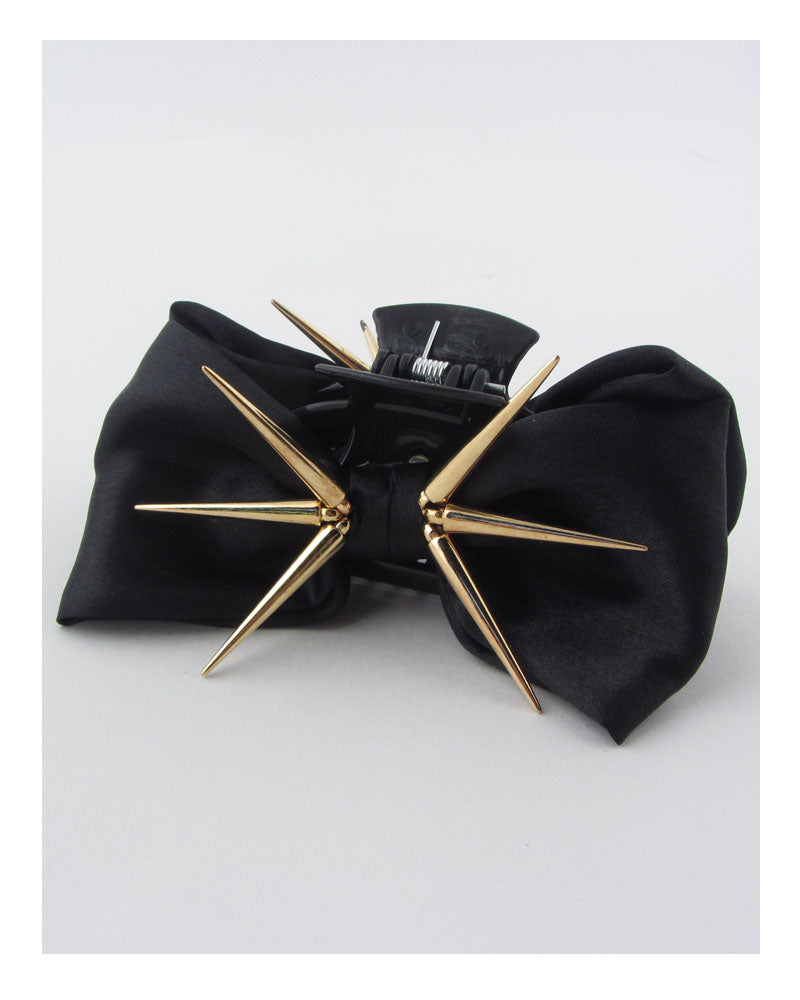 Bow hair jaw clip w/decorative spikes