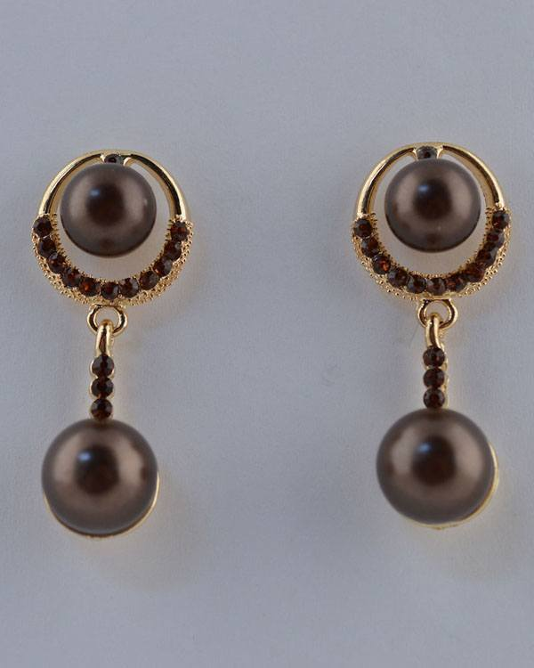 Faux Pearl Drop Earrings w/ Rhinestones