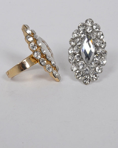 Small and Large Crystal Studded Adjustable Ring