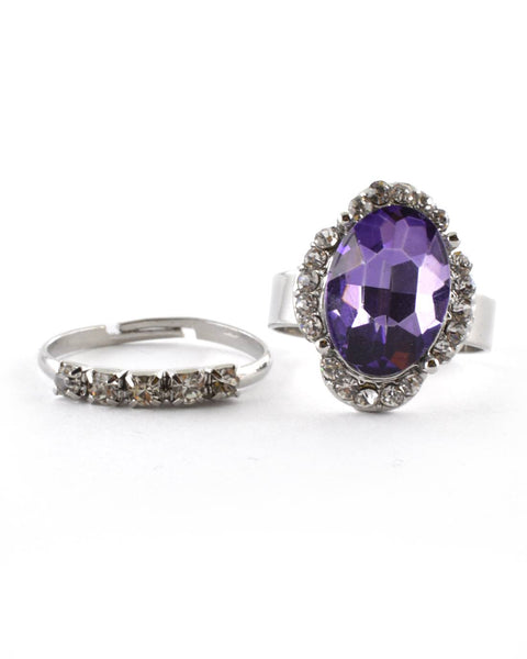 Crystal and Stone Studded Ring Set