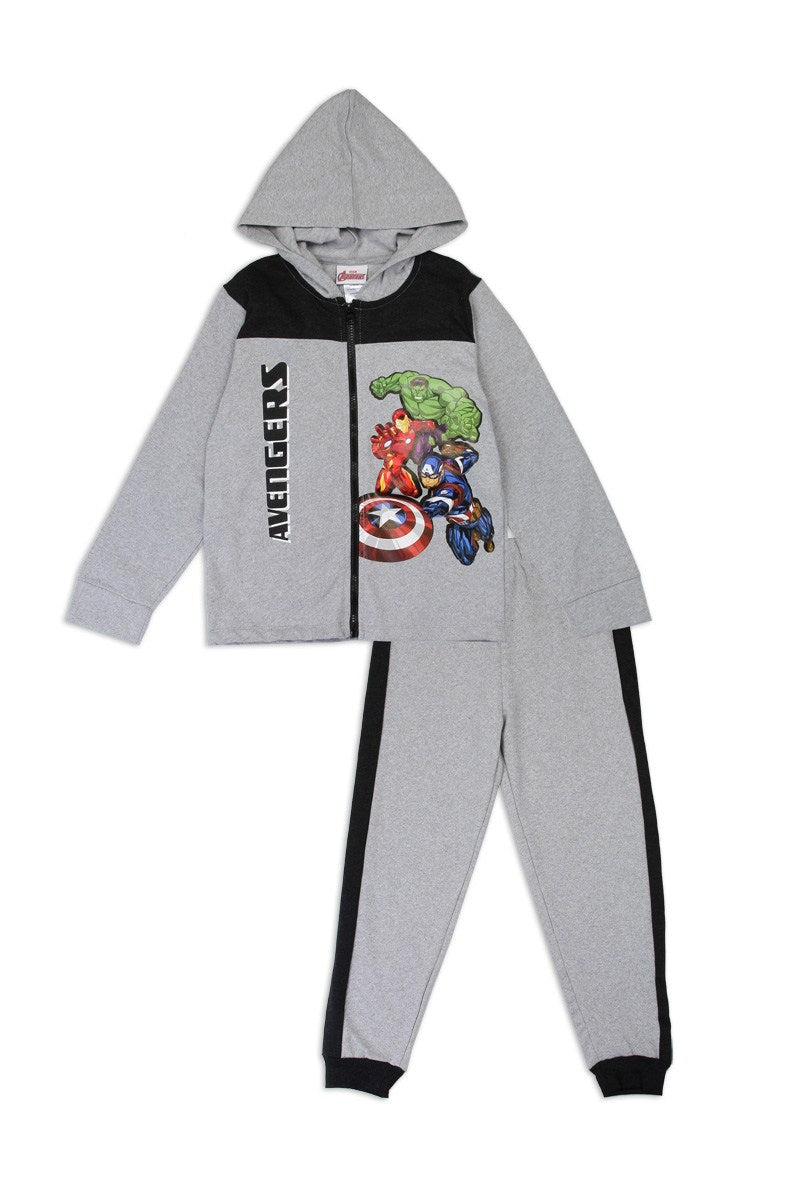 Boys avengers 4-7 2-piece zip-up fleece set