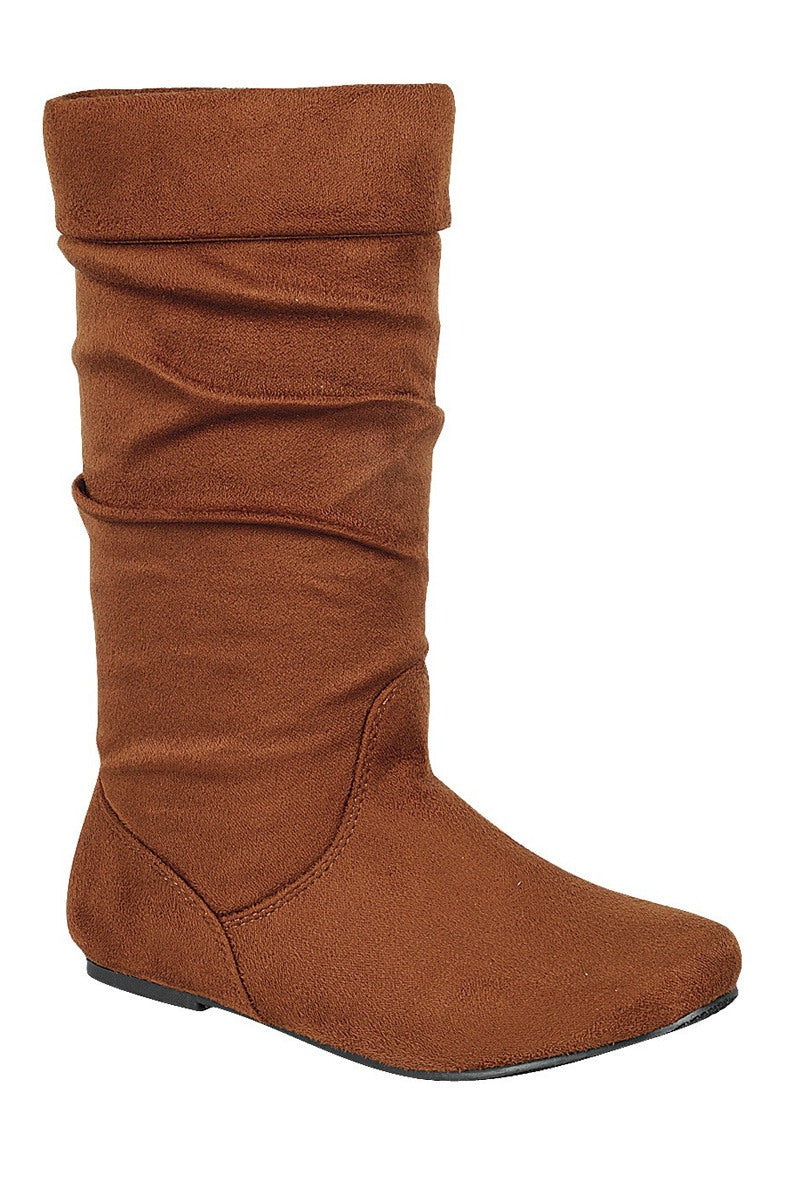 Ladies fashion ruched wedge boot, knee-high boot