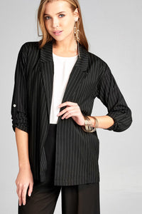 Ladies fashion 3/4 roll up sleeve w/snap button open front w/collar print stripe blazer
