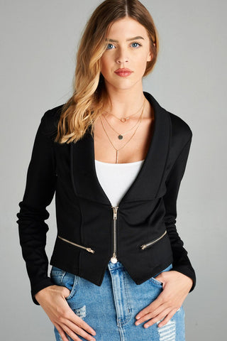 Ladies fashion long sleeve zip front blazer