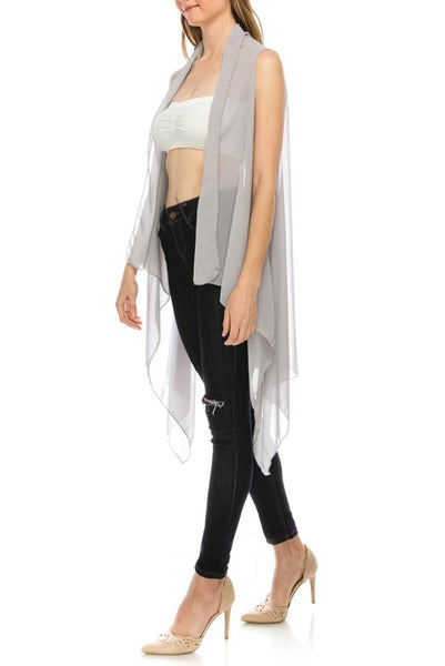 Solid open-front chiffon vest