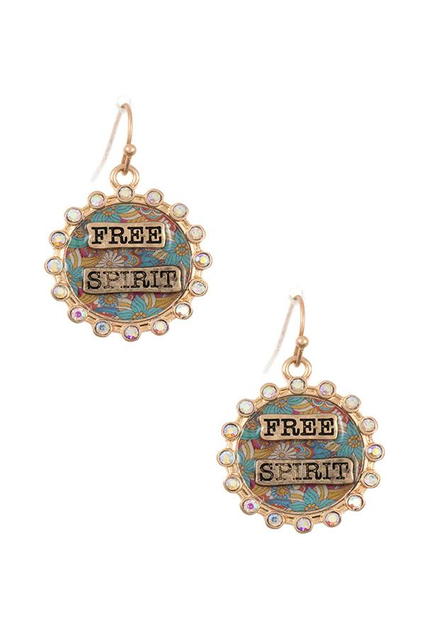Free spirit rhinestone framed dangle earring