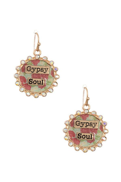 Gypsy soul rhinestone framed dangle earring