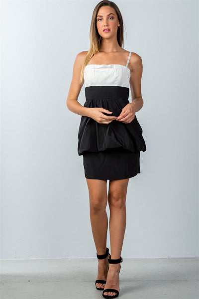 Ladies fashion white and black colorblock mini dress