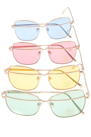 Metal accent color lens sunglasses
