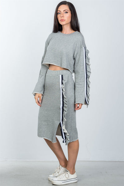 Ladies fashion contrast striped and ruffle midi sweat skirt
