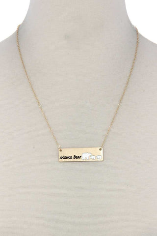 Mama Bear Metal Bar Pendant Necklace