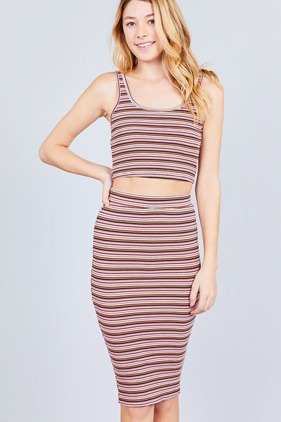 Double Scoop Neck Crop Top Pencil Midi Skirt