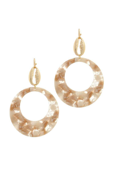 Acetate Circle Cowrie Seashell Charm Drop Earring