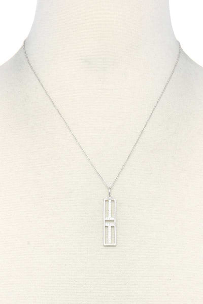 Metal Rectangular Shape Pendant Necklace