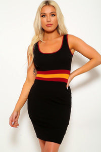 Solid, Color Block Contrast, Sleeveless, Round Neckline, Stripe Detail, And Stretchy