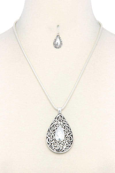 Two Tone Filigree Teardrop Shape Pendant Necklace