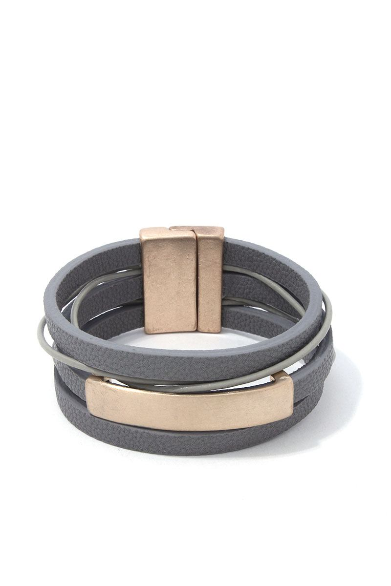 Metal Bar Pu Leather Wrap Magnetic Bracelet