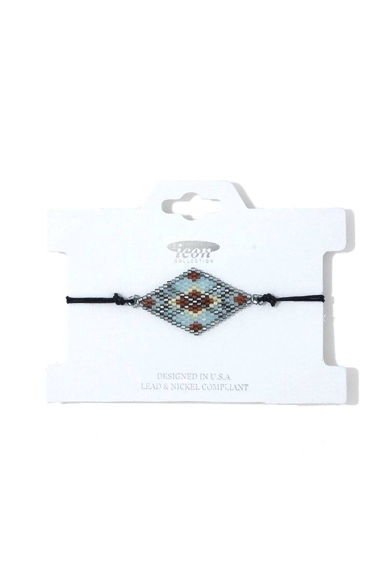 Rhombus Shape Beaded Adjustable Bracelet