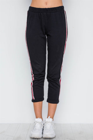Black Contrast Trim High Waist Sweat Pants