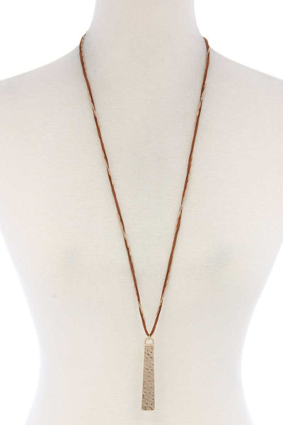 Hammered Metal Bar Pendant Suede Necklace