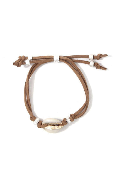 Cowrie Shell Suede Adjustable Bracelet