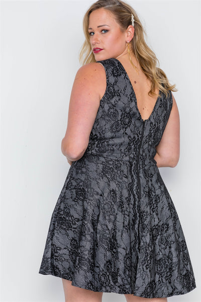 Plus Size Black Lace Print Lace Up Skater Dress