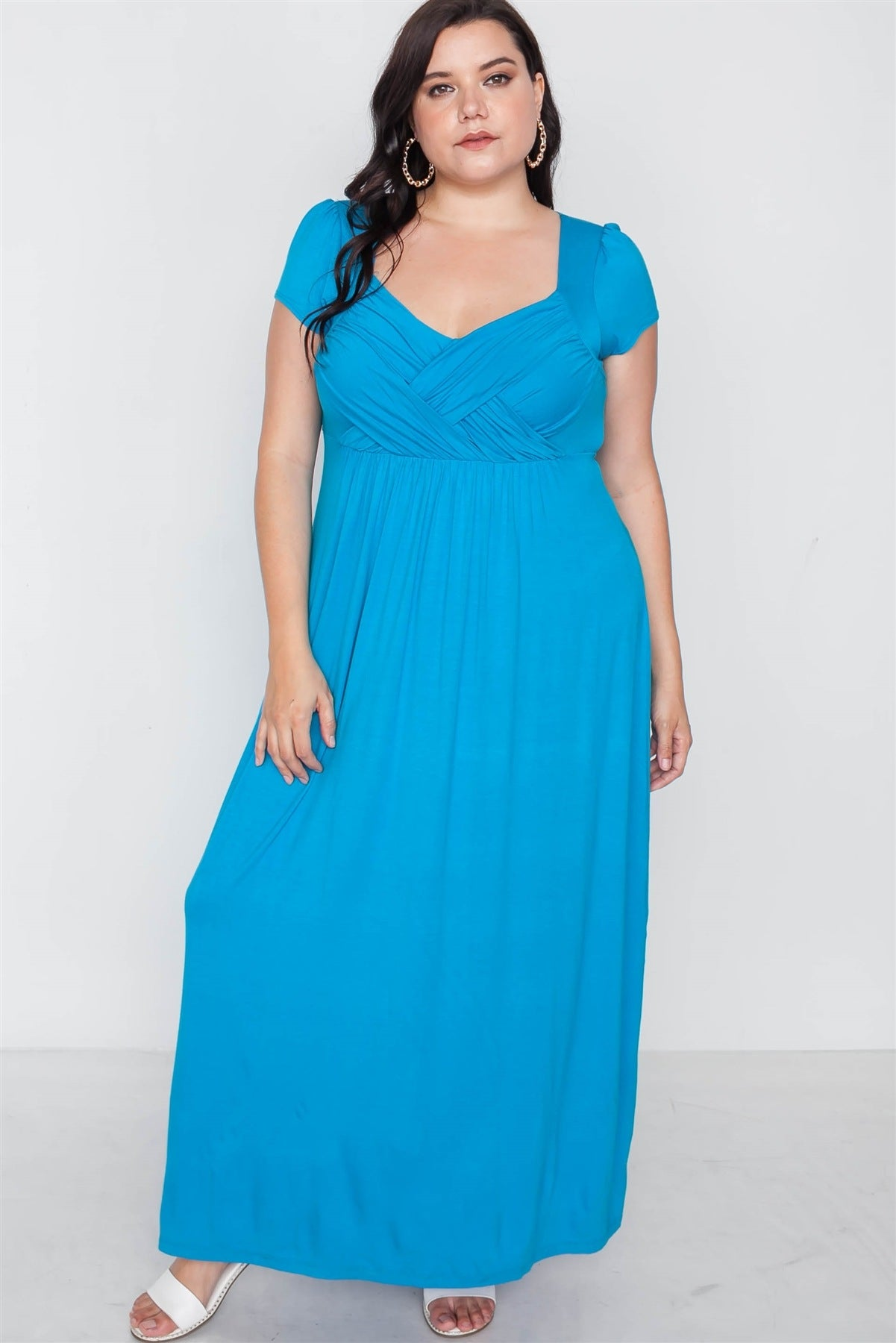 Plus Size Short Sleeve Maxi Dress
