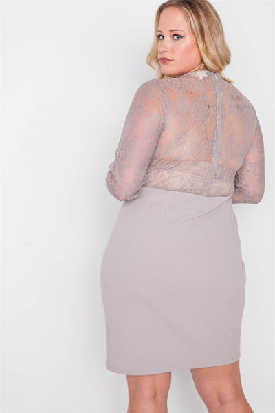 Plus Size Combo Lace Long Sleeve Dress