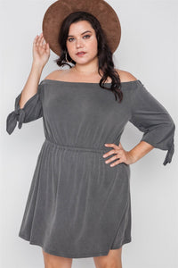 Plus Size Charcoal Off The Shoulder Basic Mini Dress