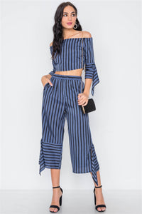 Stripe Flounce Two Piece Top Pants Set