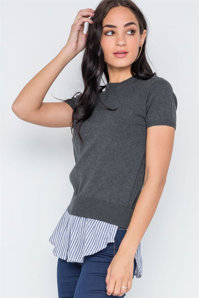 Short Sleeve Combo Stripe Sweater