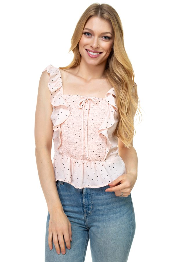 Polka Dot Smocked Ruffle Crop Top