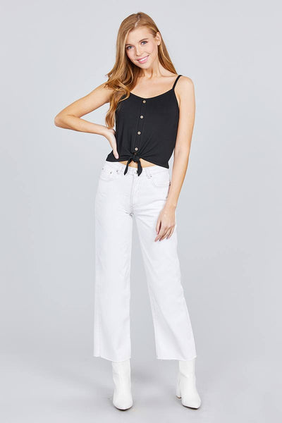 Round Neck W/button Down Front Tie Cami Top