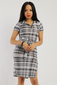 Print Midi Tee Dress With Short Sleeves Collared V Neckline, Matching Belt