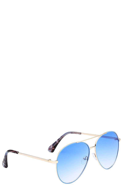Giselle Contemporary Classic Teardrop Metallic Aviator Ladies Sunglasses